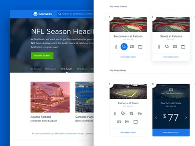 NFL Game Guide by SeatGeek! button material flip icon animation card ux ui football nfl