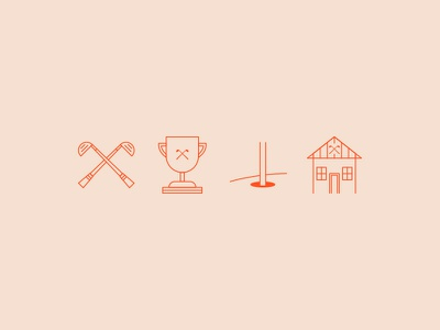 Icons for a tournament golf website! icons mark logo brand golf club trophy icon house home