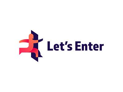 Let's Enter brand! shadow gradient motion door person type mark logo