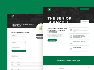 Website, icons and brand for Senior Scramble registration cta button golf website branding brand icons icon