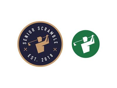 Senior Scramble Brand typography logo mark swing tee golf branding badge brand