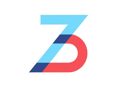 37 37 3 7 logo overlay overlap shape mark custom type design red blue purple brand
