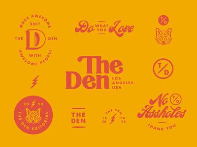 The Den Visual Identity - Pt 1 wordmark retro retro design wolf logo branding and identity custom type serif logo logo system logo design visual identity branding