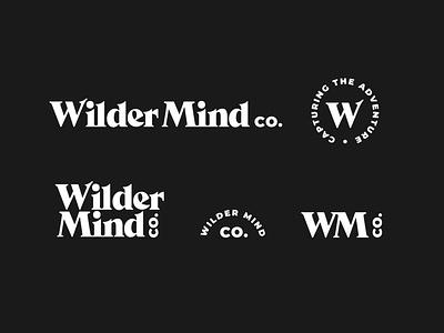 Wilder Mind Co. Logo Set brand identity type lockup custom type adventure branding logo suite serif wordmark branding logo system