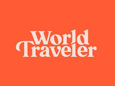 World Traveler custom type logo design world traveler travel branding typography lettering serif logo logotype