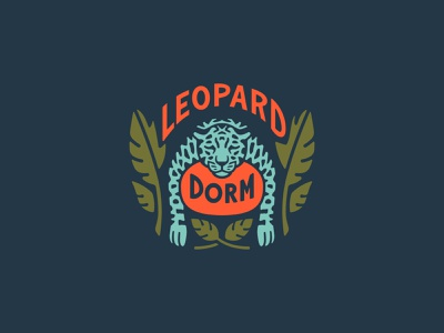 Leopard Dorm sans serif chillin sleepy customtype lettering procreate illustration leopard logo