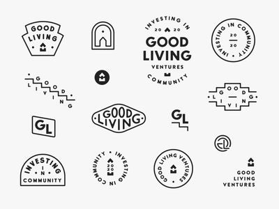 Logo System for Good Living custom type identity logo badge stamp wordmark sans serif wordmark type lockup branding southwestern logo minimalist logo visual identity brand identity logo system