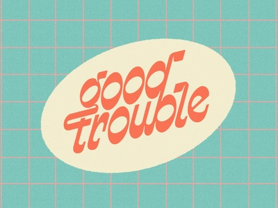 Good Trouble retro lettering funky retro lettering procreate grid wordmark vintage handlettering custom type