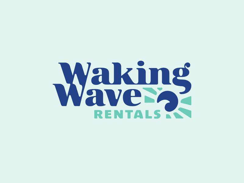 Waking Wave Logo vintage inspired sun wave type lockup logo type wordmark teal turquoise serif font serif logo