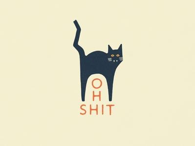 Happy October october minimalist illustration oh shit spooky type lockup halloween sans serif black cat