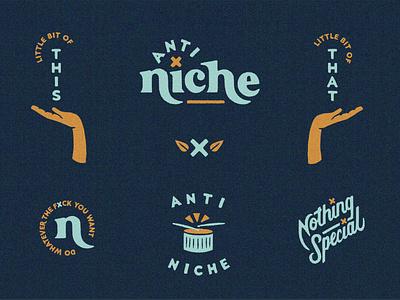 Anti Niche Brand Elements do whatever the fuck you want anti niche illustration hands script type lockup badge design procreate vintage custom type lettering serif logo branding