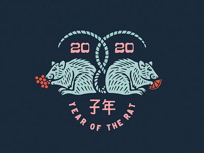 2020 Year of the Rat kern club procreate vintage design japanese illustration type lockup badge design rat illustration new year 2020 year of the rat