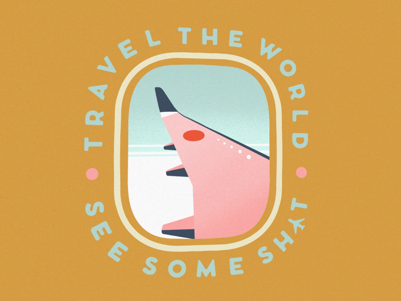 Travel the World minimalist illustration inspirational quote wes anderson badge design travel illustration illustration airplane travel