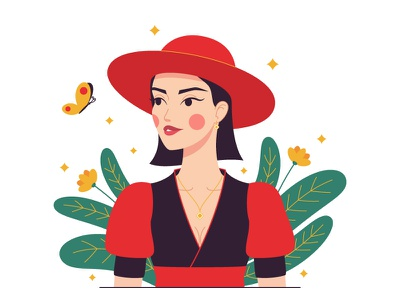 Woman in red hat garden woman portrait woman character woman vector illustration vector art red hat minimalist composition minimalism light skin illustration fashion illustration fashion digital art design character design character art cartoon butterfly beauty