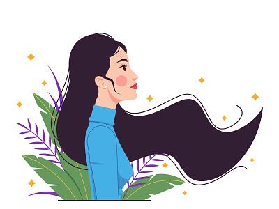Asian woman jungle long hair woman vogue vector minimalist composition minimalism fashion illustration illustration graphic girl fashion digital art design composition character design character beauty asian woman