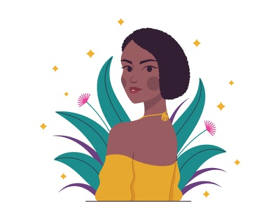African woman garden vogue vector posture posing minimalist design minimalism illustration girl fashion illustration dark skin composition character design celebrity cartoon beauty woman african