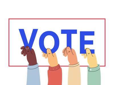 Vote 2020 voter vote vector president election polling day people illustration human hand elector election day election 2020