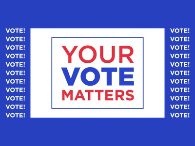 Your Vote Matters banner typography your vote matters voter vote vector president election polling day illustration go vote elector election day election ballot 2020