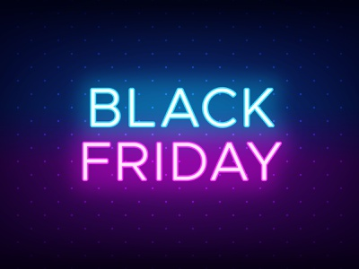 Black Friday caption title neon glow neon colors blue and purple offer advertising headline sale promotion vector illustration poster banner social media glow effect neon light black friday