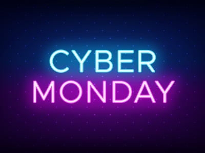 Cyber Monday vector illustration title social media sale promotion poster offer neon light neon glow neon colors headline glow effect caption blue and purple cyber monday banner advertising