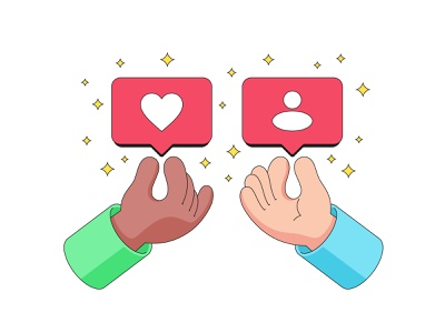 Interaction in social networks friendship social network like follower subscribers share exchange give away human hand hand solidarity friend bubble notification social media feedback vector illustration vectorart cartoon support interaction