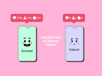 Promotion in social media instagram character smartphone message facial expressions emotion cute vector illustration account cartoon comment follower like counter social network social media promotion notification bubble mobile phone