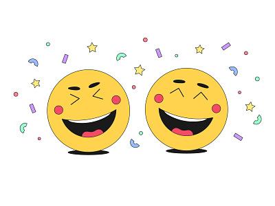 Laughing emoji moods emoticon comedy comic confetti holiday mood cheerful joyful joke illustration vector laugh laughing humor gladness fun cartoon emotion emoji
