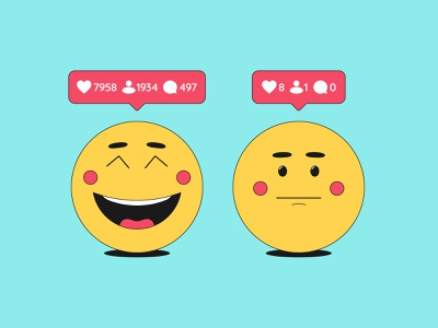 Emoji in social media instagram cartoon audience message bubble notification illustration counter likes followers comments promotion social network social media emotion emoticon emoji