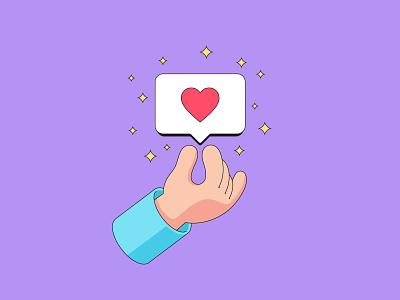 Like for you design vectorart stroke outline minimalist minimalistic stars love share vector illustration social network cartoon hand shape heart notification bubble like