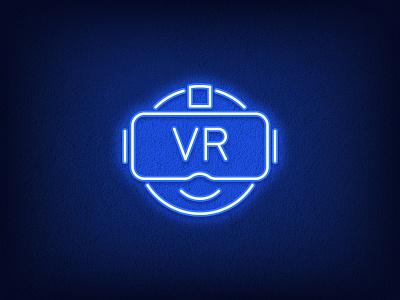 VR Emoji blue illustration outline logo smile technology gaming headset videogame gamer icon sign emoticon emoji glasses experience reality virtual vr neon