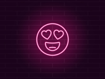 Neon emoji in love vector pleasure passion beloved amour affection adoring amorous day valentine happiness fondness feeling enamored eyes heart love emoticon emoji neon
