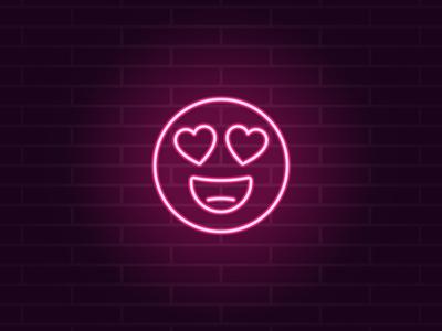 Neon emoji in love
