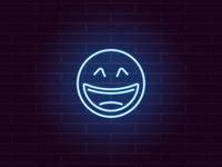 Neon laughing emoji