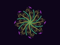 Flourishing round ornament, 3