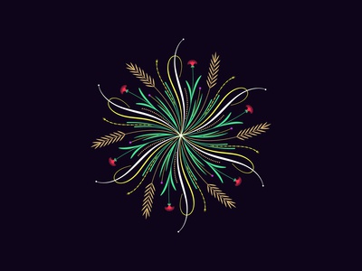 Flourishing round ornament, 11