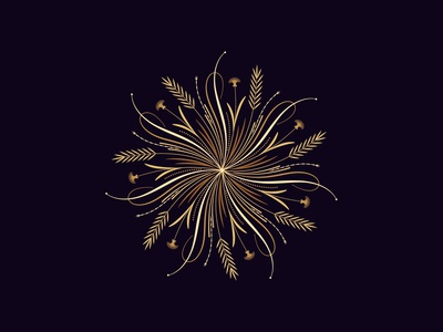 Flourishing round ornament, 12