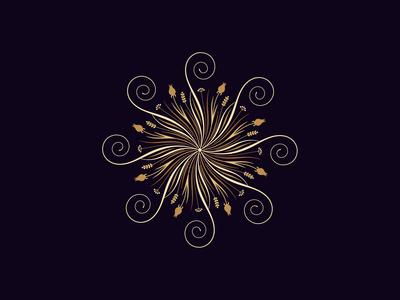 Flourishing round ornament, 14