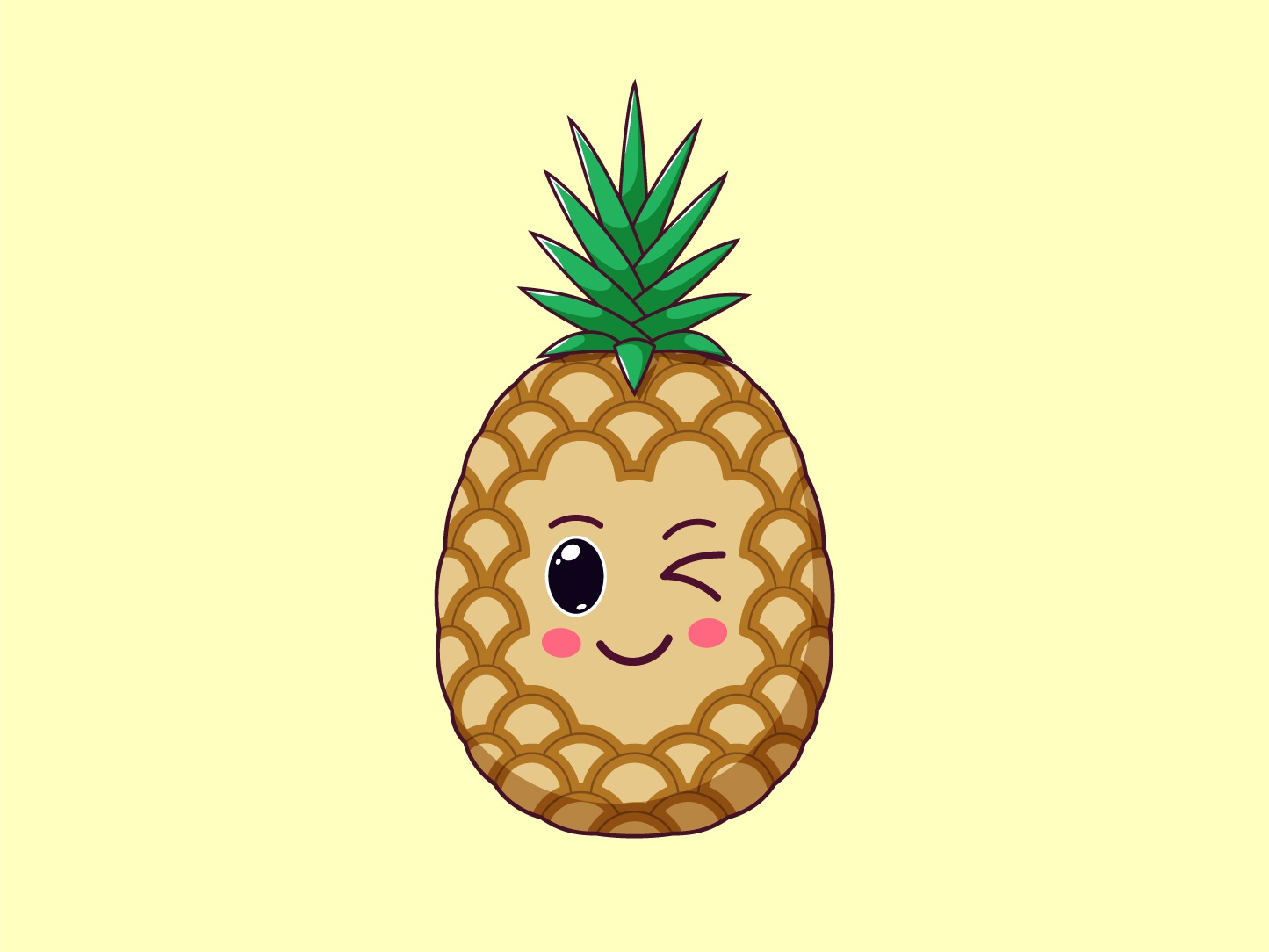Cute Kawaii Pineapple, Cartoon Tropical Fruit tropical vector pineapple sticker smile kawaii illustration fruit emoji cute cartoon