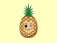 Cute Kawaii Pineapple, Cartoon Tropical Fruit