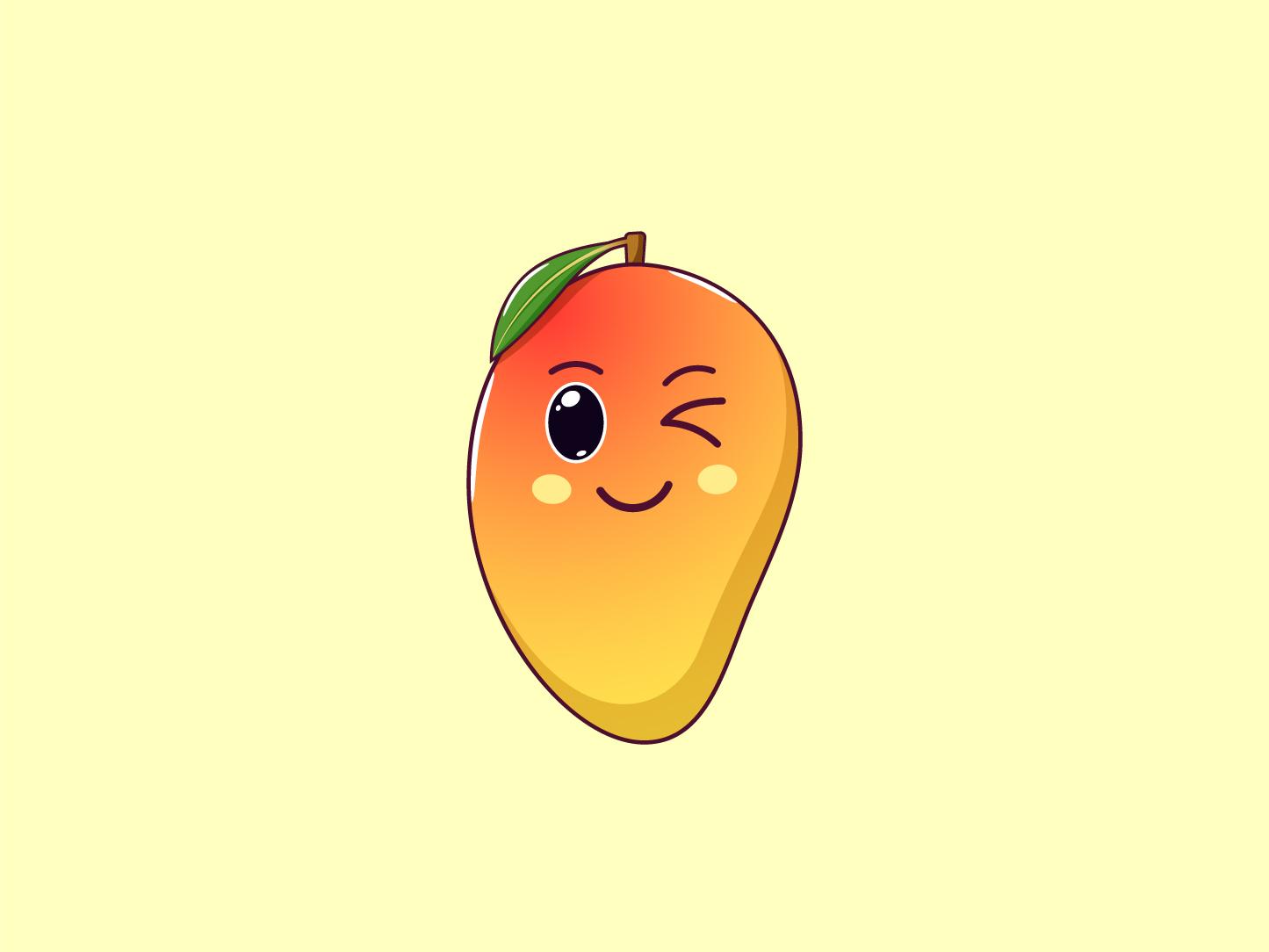 Cute Kawaii Mango, Cartoon Fruit juicy summer face vector tropical sticker smile mango kawaii illustration fruit emoji cute cartoon