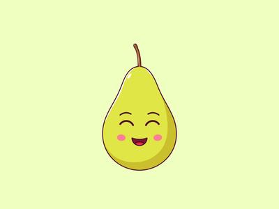 Cute Kawaii Pear, Cartoon Fruit