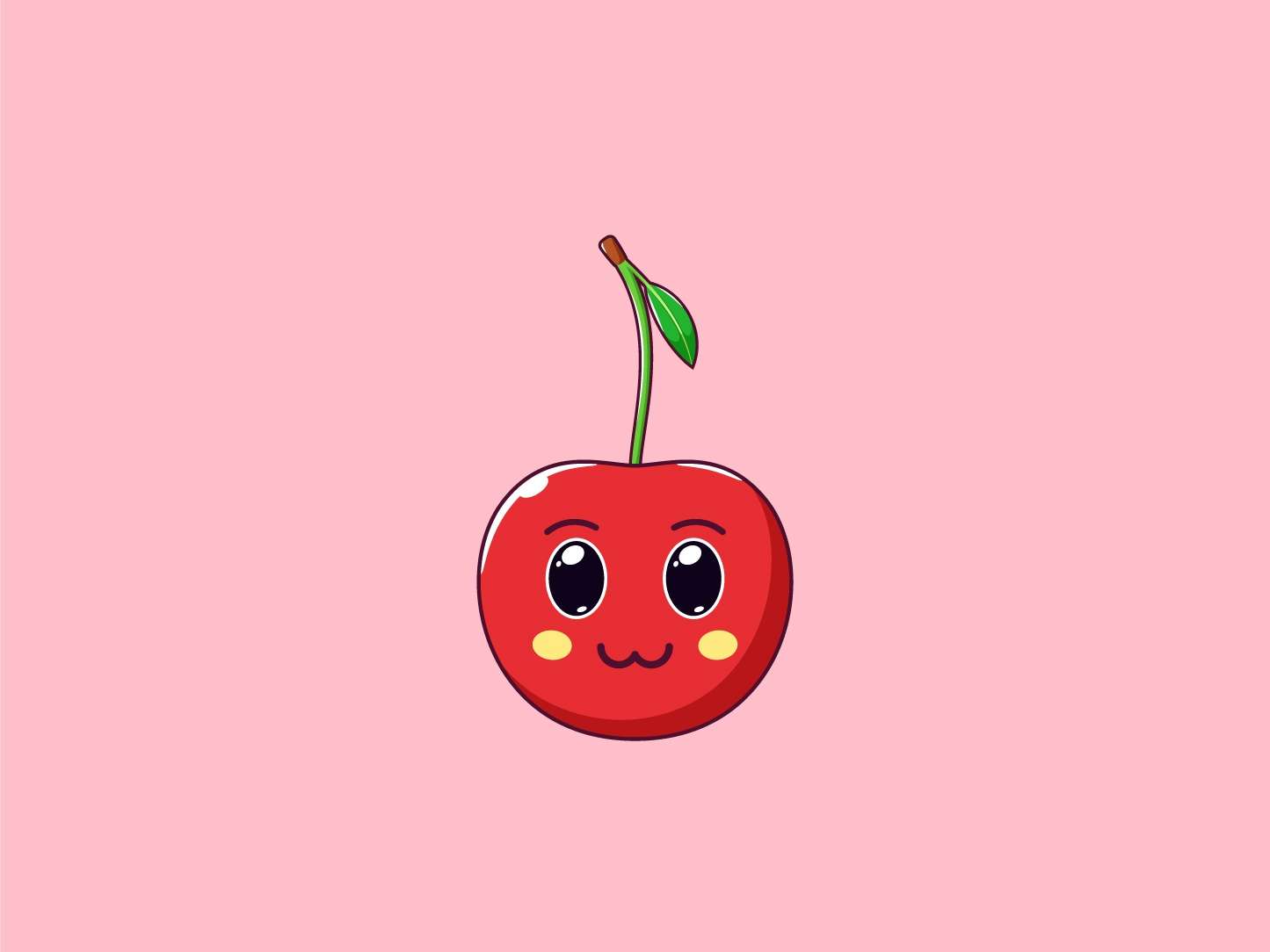 Cute Kawaii Cherry, Cartoon Fruit vector summer sticker smile cherry kawaii illustration fruit face emoji cute cartoon