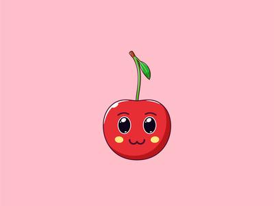 Cute Kawaii Cherry, Cartoon Fruit