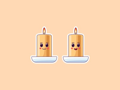 Cute Kawaii Candles, Stickers