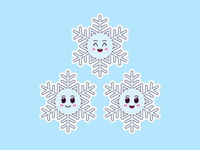 Cute Kawaii Snowflakes, Stickers