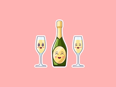 Cute Kawaii Champagne, Stickers