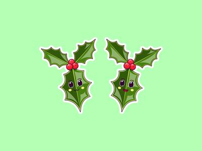 Christmas Kawaii Holly, Stickers