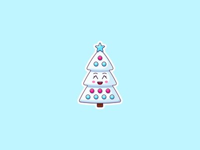 Kawaii White Christmas Tree, Sticker