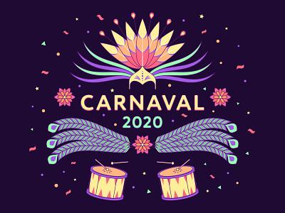Carnaval 2020 rio de janeiro headdress mask fun feather drumsticks drum masquerade illustration poster banner festive festival brazil 2020 carnival carnaval