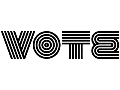 VOTE motion design black and white typography